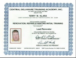 Terry's Lead Certificate