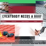 A collage photo of a laptop computer, a roofing contarct, and roofing contractors.